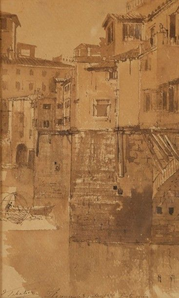 François-Victor SABATIER (1823-1891) Florence, Ponte Vecchio, 8 juillet 1871 Dessin...