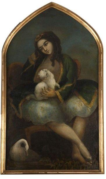 Jeune femme au chat, Iran qâjâr, époque de...