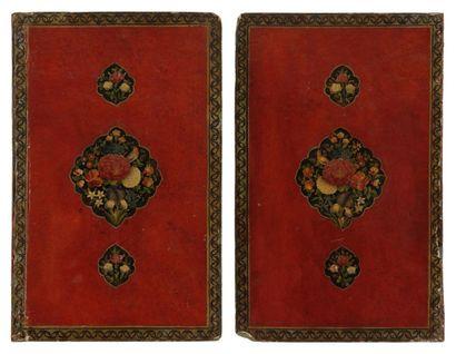 Deux plats de reliure laqués, Iran qâjar,...