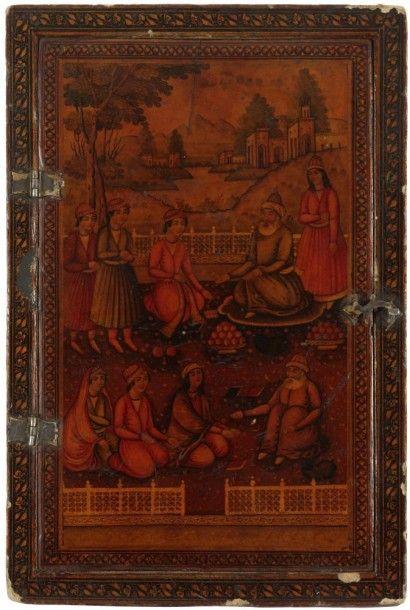 Miroir en bois laqué, Iran, XIXe siècle Miroir...