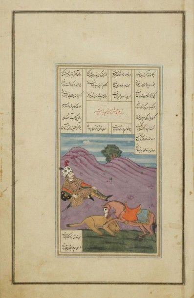 Trois pages de Shahnameh, Iran, vers 1920...
