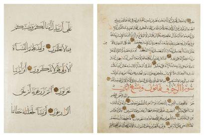 Quatre folios divers de Corans, Proche -...