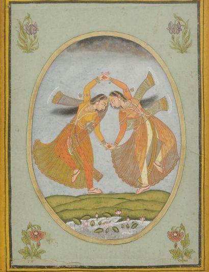 Deux danseuses Katakh, Inde de l'ouest, Bundi,...