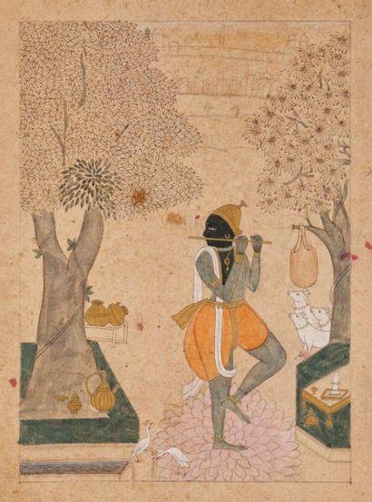 Krishna jouant de la flûte, Rajasthan, XIXe...
