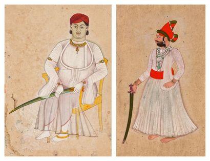 Deux portraits de Raja, Rajasthan, Jodhpur,...