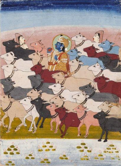Quatre scènes de cour, Rajasthan, Jaîpur,...