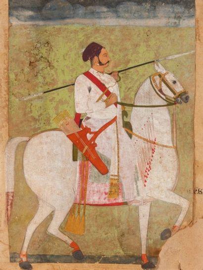 Portrait équestre, Rajasthan, XIXe siècle...