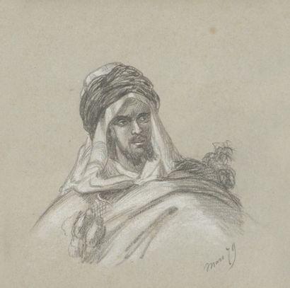 École orientaliste du XIXe siècle Portrait de Soliman, 1879 Dessin au crayon noir...