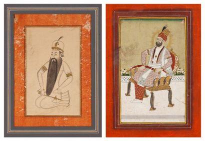 Deux portraits de rajas, Deccan, XIXe siècle...