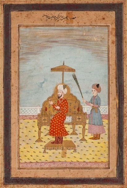 L'empereur moghol Humayun sur son trône,...