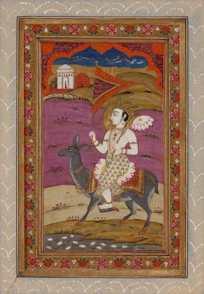 Krishna enfant et cavalier princier, Rajasthan...