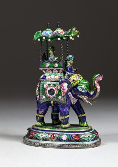 Eléphant au palanquin, Inde, Rajasthan, style...
