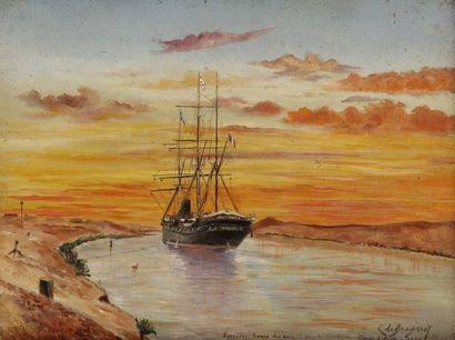 Charles DE BRAGARD (XIXe - XXe siècle) Dernières lueurs du soleil couchant, Canal...