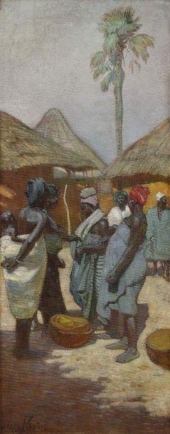 Joseph DE LA NEZIERE (1873 - 1944) Femme dans un village africain Huile sur toile....