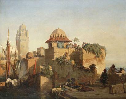 Jules NOEL (1810 - 1881) Scène orientale sur le Bosphore, 1842 Huile sur toile. Signée...