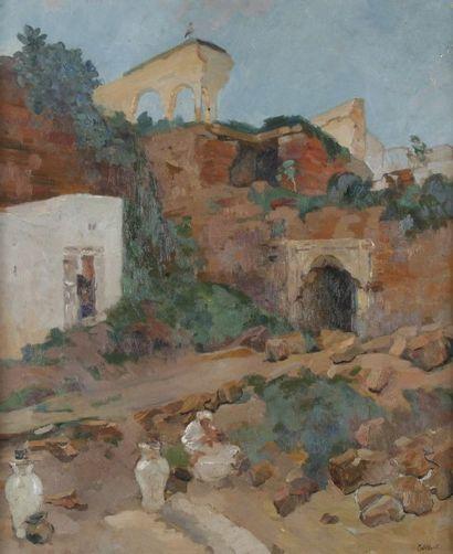 Elie - Anatole PAVIL (1873 - 1944) Rabat, femme à Oudayas Huile sur toile. Signée...