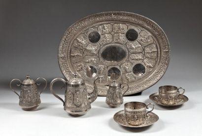Service à thé en argent, Inde, fin XIXe siècle...