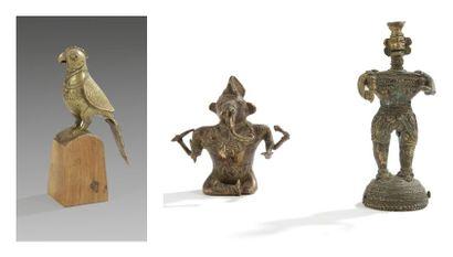 Quatre statuettes en laiton, Inde, Gujarat,...