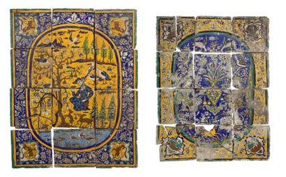 Deux compositions en céramique polychrome...