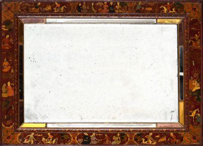 Miroir en bois laqué, signé Sayyed, Iran...