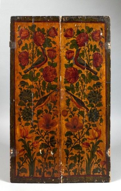 Deux battants de miroir en bois, Iran qâjâr,...