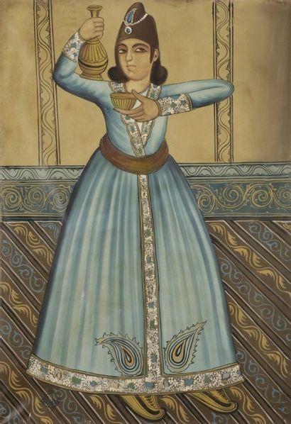 Échanson persan dans le style, qâjâr, signé,...