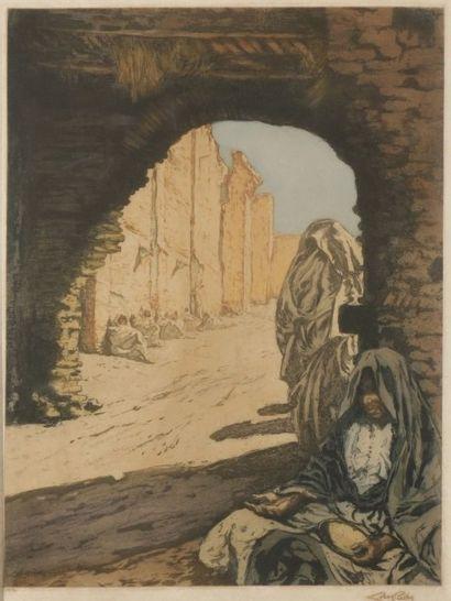 Alméry LOBEL - RICHE (1880 - 1950) Porte au Maroc Eau - forte et aquatinte. Signée...