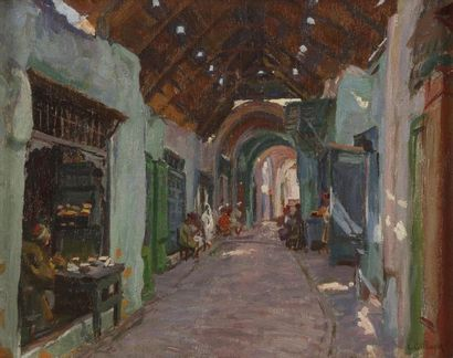Léon GIFFARD (XIXe - XXe siècle) Le souk d'Esseraïria; Tunis, 1926 Huile sur panneau....