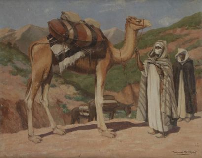 Florimond METEREAU (1888 - 1978) Méharistes et dromadaire Huile sur toile. Signée...