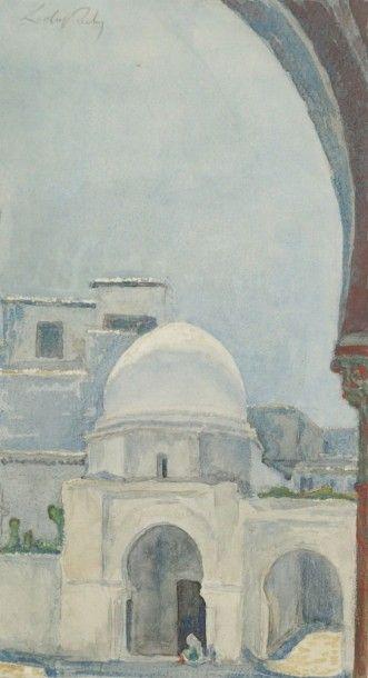 Alméry LOBEL - RICHE (1880 - 1950) Porte au Maroc Aquarelle. Signée en haut à gauche....