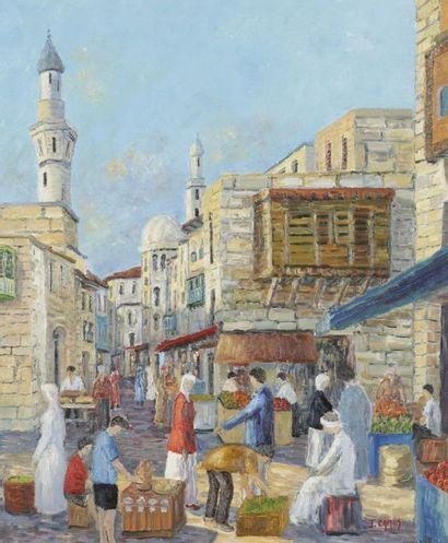 Jacques CAMUS (né en 1937) Marché à Tunis Huile sur toile. Signée en bas à droite....