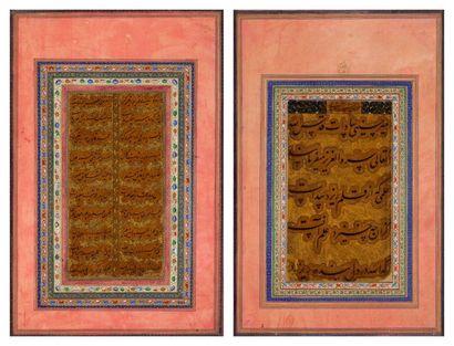 Deux calligraphies de textes littéraires,...