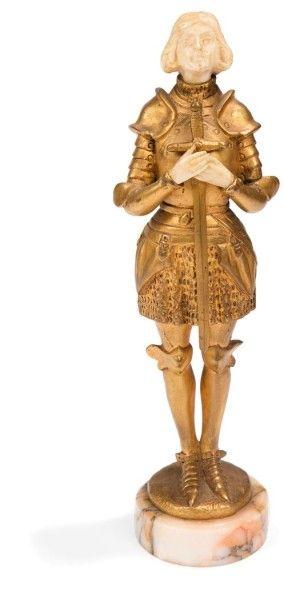 Charles-Éloy BAILLY (1830-1895) Jeanne d'Arc Sculpture chryséléphantine. Épreuve...