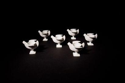 FRANÇOIS-XAVIER LALANNE (1927-2008) Cocotte Suite de six coquetiers zoomorphes. Épreuves...