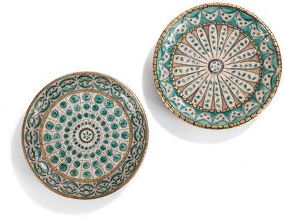 André METTHEY (1871-1920) Deux plats creux circulaires, formant pendants, reposant...