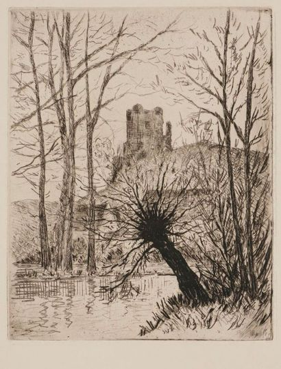 Maxime MAUFRA (1861-1918) Les Ruines de Lavardin. 1907. Eau-forte et vernis mou....
