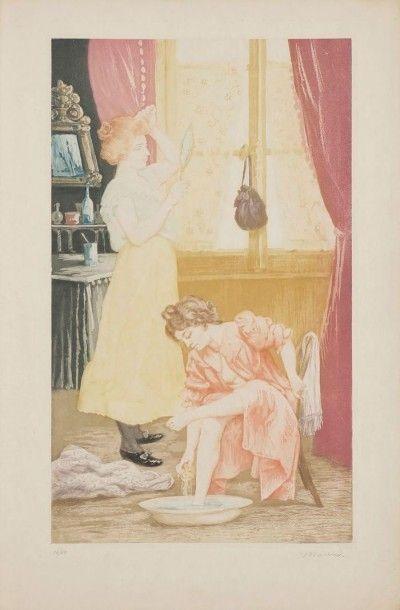 CHARLES MAURIN (1856-1914) Première toilette. Aquatinte. 250 x 410. Impression en...
