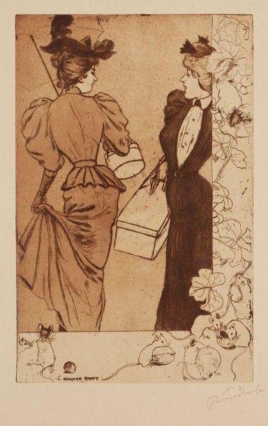 Richard RANFT (1862-1931) Trottins. 1894. Eau-forte et aquatinte. 258 x 400. Stein...