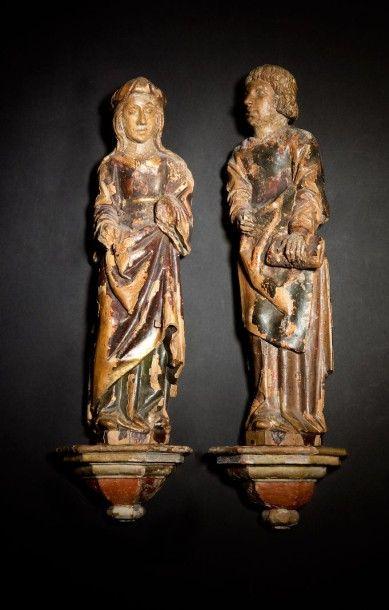 Vierge et saint Jean de Calvaire en bois...