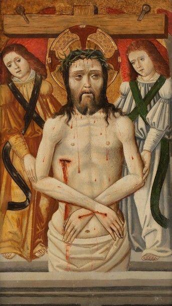 École ESPAGNOLE vers 1520 Le Christ soutenu par des anges Panneau, trois planches,...