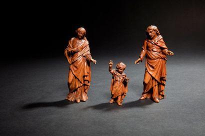 Sainte Famille en buis sculpté en ronde-bosse...