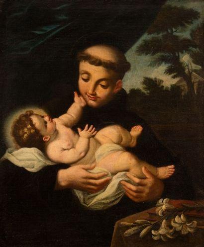 École ITALIENNE vers 1700 Saint Antoine Toile 75 x 60,5 cm