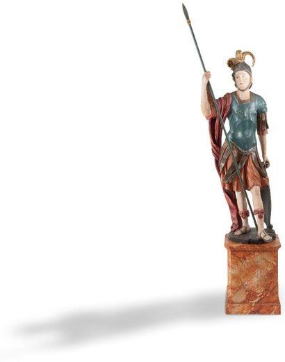 Figure de légionnaire en arme en bois polychrome,...