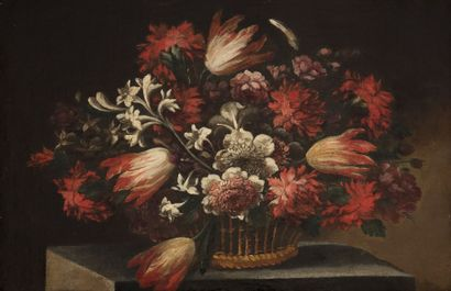 École ESPAGNOLE vers 1700, suiveur de Juan de ARELLANO Corbeille de fleurs Toile...