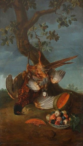 École FRANCAISE vers 1760, atelier d'Alexandre François DESPORTES Oiseaux et assiette...