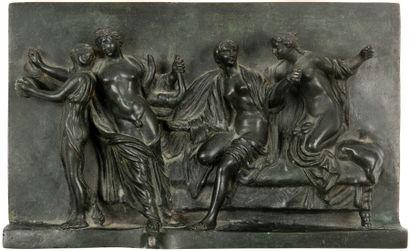 Plaque en bronze patiné à décor d'une scène...