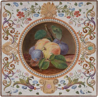 Plaque en lave émaillée à décor d'un médaillon...