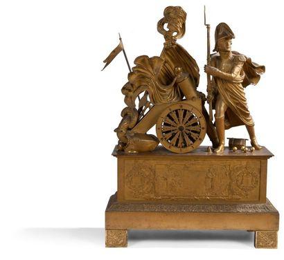 Importante pendule au Prince Eugène, en bronze...