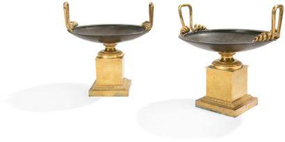 Paire de coupes en bronze patiné et doré,...