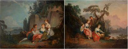 École FRANCAISE du XVIIIe siècle, entourage de Jean Honoré FRAGONARD Bergères et...
